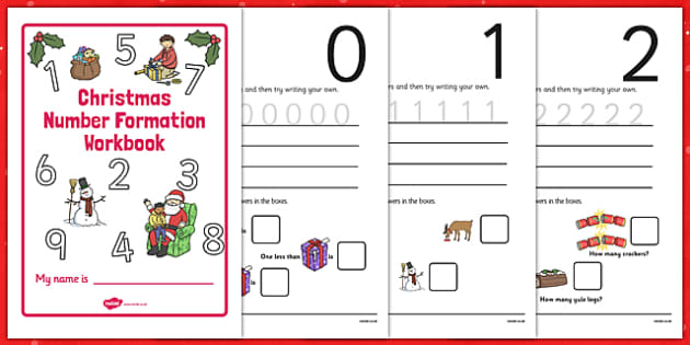 Christmas Number Formation Workbook (0-9) - numeracy, numbers, 0-9, number formation, Christmas, xmas, Handwriting, number formation, Christmas, pudding, advent, nativity, santa, father christmas, Jesus, tree, stocking, present, activity, cracker, an