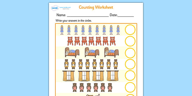 Goldilocks and the Three Bears Counting Sheet - goldilocks and the three bears, couting sheets, counting, counting worksheet, adding, numeracy, maths, number
