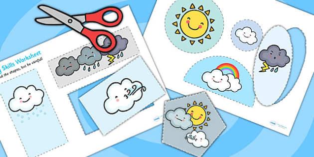Weather Themed Cutting Skills Worksheets - cut, fine motor skills