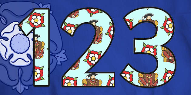 Henry VIII Themed A4 Display Numbers-henry VIII, themed, A4, display numbers, numbers for display, display numbers, themed numbers, history display, A4