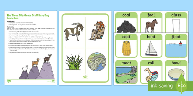 The Three Billy Goats Gruff Rhyming Busy Bag Resource Pack for Parents