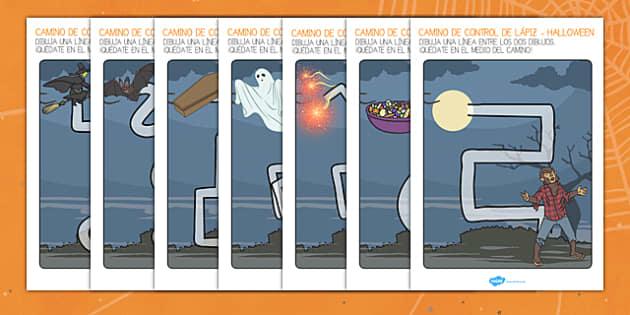 Halloween los caminos Fichas de motricidad fina trazo