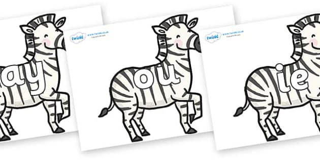 Phase 5 Phonemes on Zebras - Phonemes, phoneme, Phase 5, Phase five, Foundation, Literacy, Letters and Sounds, DfES, display