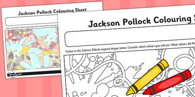 Jackson Pollock Colouring Sheet - colour, sheet, jackson pollock