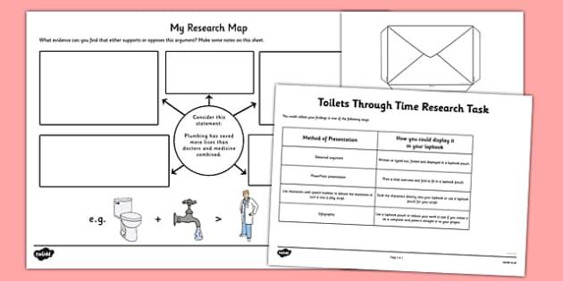 Toilets Through Time Research Task - toilets through time, toilets, time, research task, research, task
