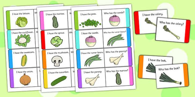 Vegetable Loop Cards - vegetable, loop cards, loop, cards, activity