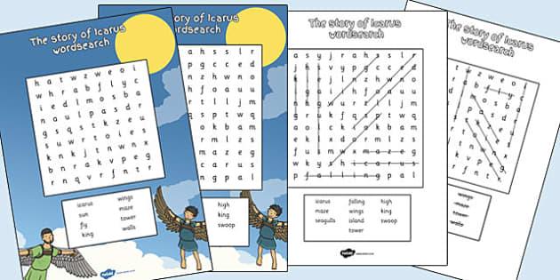 Icarus Word Search - icarus, wordsearch, word, search, greek