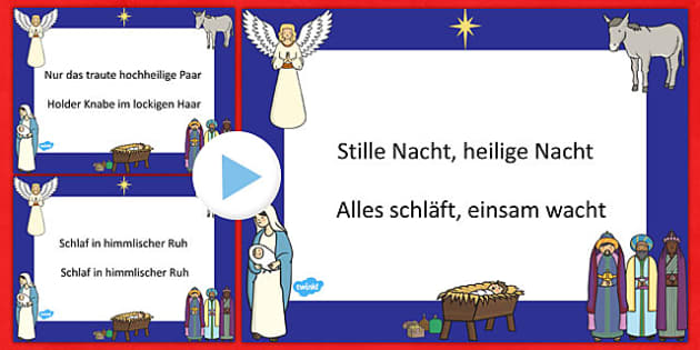 Stille Nacht Christmas Carol Lyrics PowerPoint German - german, silent night, christmas carol, christmas, lyrics, powerpoint