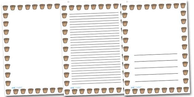 Flower Pot Portrait Page Borders- Portrait Page Borders - Page border, border, writing template, writing aid, writing frame, a4 border, template, templates, landscape