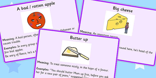 Food Idioms Meaning Cards Set 2 - food, idioms, meaning, cards