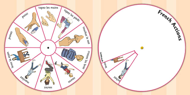 French Action Words Spinner - french, action, words, spinner
