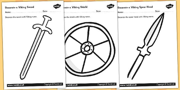 Decorate a Viking Spear Sword and Shield Worksheets - decorate viking weapons, design a weapon, design a shield, viking runes, colouring sheet, ks2 history