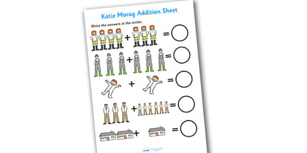 Addition Sheet to Support Teaching on Katie Morag - katie morag, addition sheet, katie morag worksheet, katie morag addition sheet, story book themed worksheets