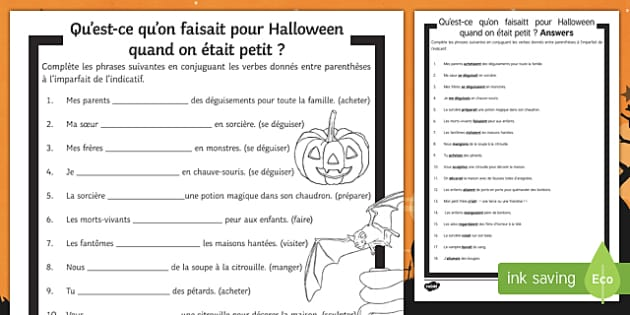 Halloween Imperfect Tense Gap Fill Activity Sheet-French, worksheet