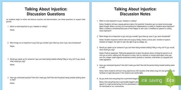 Talking About Injustice Teacher Guide Activity Sheet - Justice, Diversity, injustice, discrimination, discussion, peace