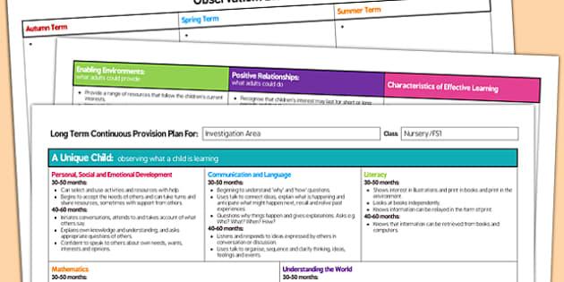 Investigation Area Editable Continuous Provision Plan Nursery FS1