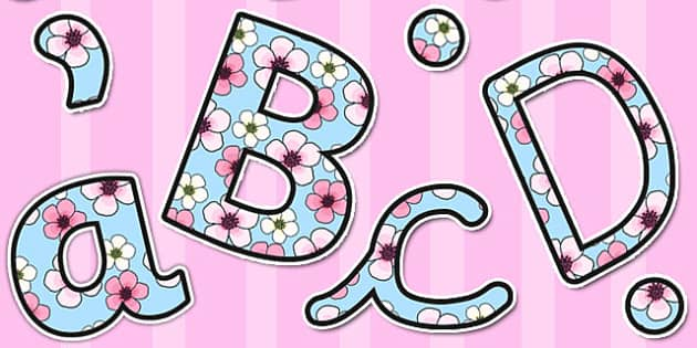 Pink Blossom Themed Size Editable Display Lettering - letters
