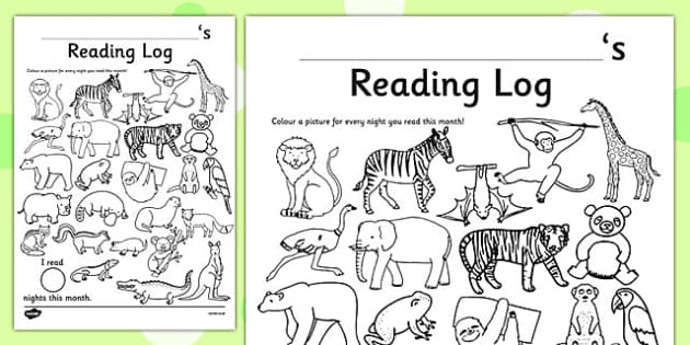 Wild Animal Themed Colour In Reading Log - monitor, diary, record, home learning, independent, early years, ks1, key stage 1, reward, award, english, books, library