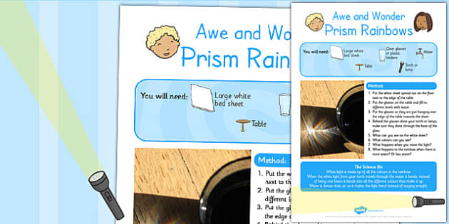 Prism Rainbows Awe and Wonder Science Activity - science, prism
