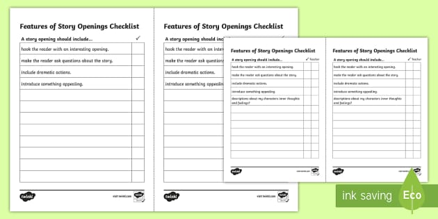 Story Opening Checklist - story writing checklist, story opening, writing a story opening, starting a story, how to begin a story, ks2 literacy