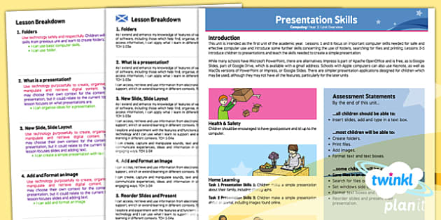 PlanIt - Computing Year 2 - Presentation Skills Planning Overview CfE - planit, planning, overview, cfe