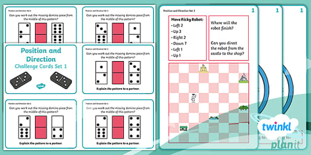 PlanIt Y2 Position and Direction Challenge Cards - Pattern, sequence, orientation, position, direction, movement, straight line, rotation, turn, right