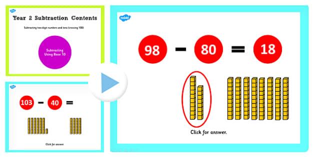 Y2 Subtract 2 Digit Numbers Tens Same 10s Cross 100 Base 10