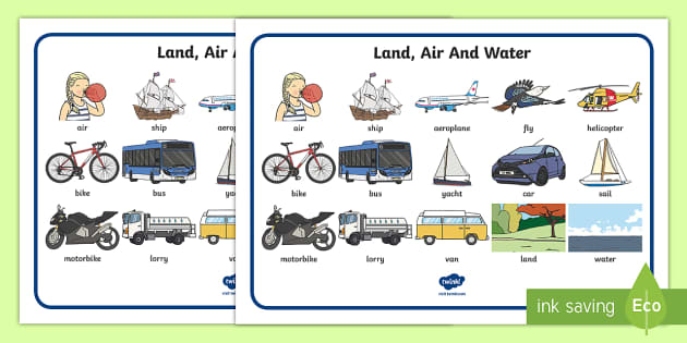 T T 17767 Land Air And Water Transport Word Mat on Jonah And The Big Fish Story Sequencing