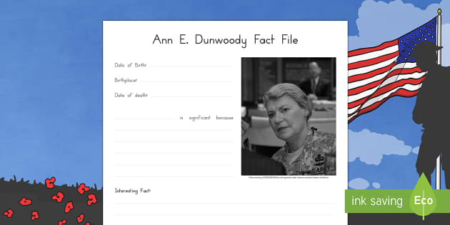 Ann E. Dunwoody Significant Individual Writing Frames