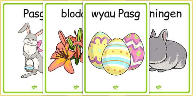 Posteri Arddangos Y Pasg - welsh, cymraeg, pasg, poster, symbolau'r pasg