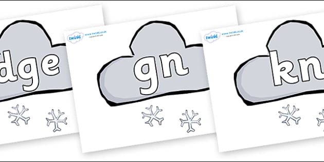 Silent Letters on Weather Symbols (Snow) - Silent Letters, silent letter, letter blend, consonant, consonants, digraph, trigraph, A-Z letters, literacy, alphabet, letters, alternative sounds
