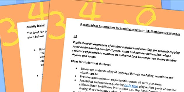 P Scales Ideas for Activities for Tracking Progress Maths Number