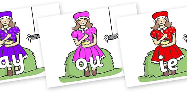Phase 5 Phonemes on Little Miss Muffet - Phonemes, phoneme, Phase 5, Phase five, Foundation, Literacy, Letters and Sounds, DfES, display