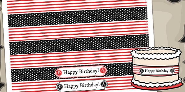 Pirate Themed Birthday Party Cake Ribbon - birthdays, parties
