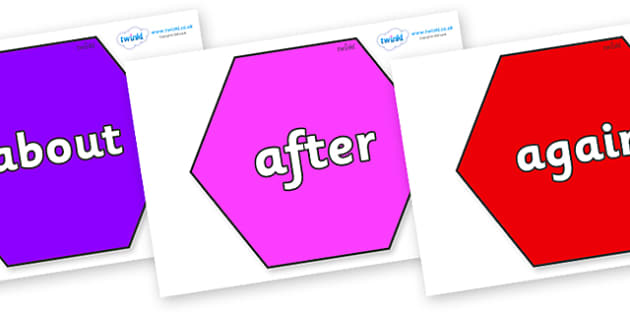 KS1 Keywords on Hexagons - KS1, CLL, Communication language and literacy, Display, Key words, high frequency words, foundation stage literacy, DfES Letters and Sounds, Letters and Sounds, spelling