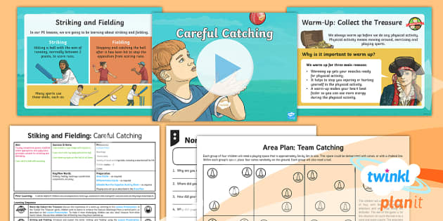 PlanIt Year 3 Striking and Fielding Lesson 1: Careful Catching Lesson Pack - Striking and Fielding, PE, Physical Education, exercise, sports, Year 3, planning, plans, powerpoint