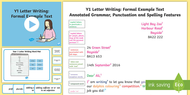 Y1 Letter Writing: Formal Model/Example Text - Example Texts Y1, Letter Writing, Formal letter, exemplification, WAGOLL, exemplification, moderatin, ARE, age-related example, model, model text, age-related model