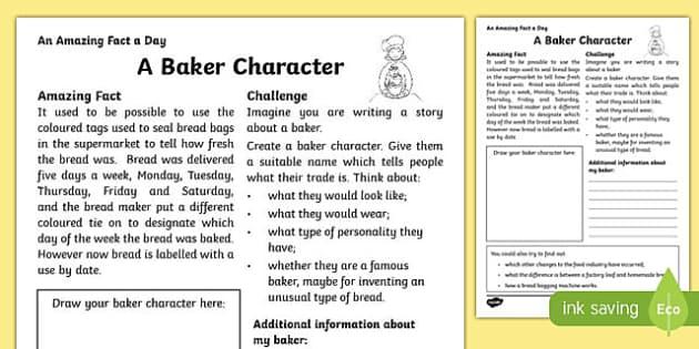 A Baker Character Activity Sheet, worksheet