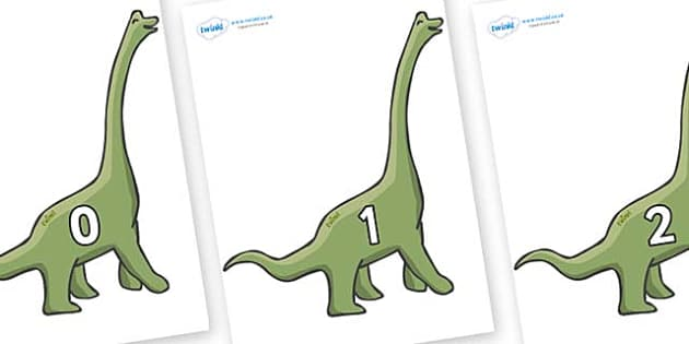 Numbers 0-31 on Brachiosaurus - 0-31, foundation stage numeracy, Number recognition, Number flashcards, counting, number frieze, Display numbers, number posters