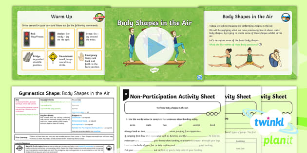 PlanIt - PE Year 3 - Gymnastics: Shape Lesson 2: Shapes in the Air Lesson Pack - PlanIt, Y3, KS2, Gymnastics, shape, star, straight, stretched, extended, tuck, pike, turn, mount, di