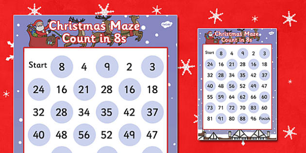 Christmas Maze Counting in 8s Activity Sheet - christmas, maze, christmas maze, coutning in 8s, counting games, christmas games, themed counting activity, counting activity, worksheet