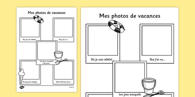 Mes photos de vacances - french, transition, writing aid
