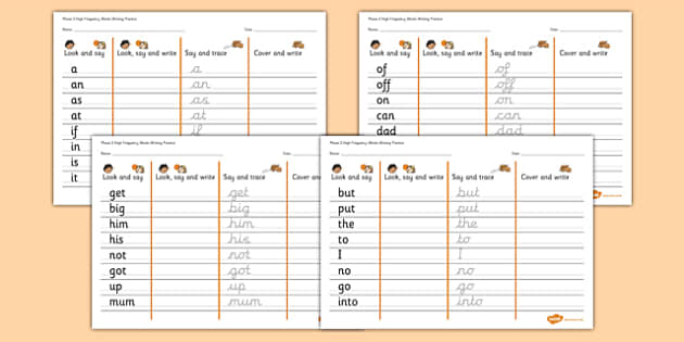 Phase 2 High Frequency Words Writing Practice Worksheets - phase