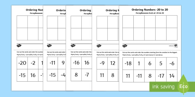 Ordering Numbers -20 to 20 Activity Polish/English  - Ordering Sheets, negative numbers, ordering, worksheet,Polish-translation