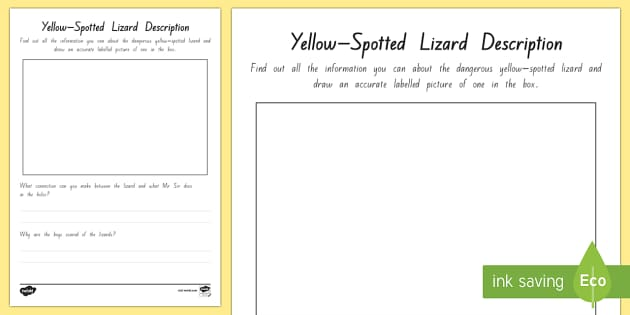 Yellow Spotted Lizard Activity Sheet - New Zealand Chapter Chat, Chapter Chat NZ, Chapter Chat, Holes, Louis Sacher, Yellow-Spotted Lizard