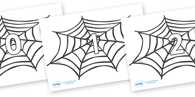 Numbers 0-31 on Spiders Web - 0-31, foundation stage numeracy, Number recognition, Number flashcards, counting, number frieze, Display numbers, number posters