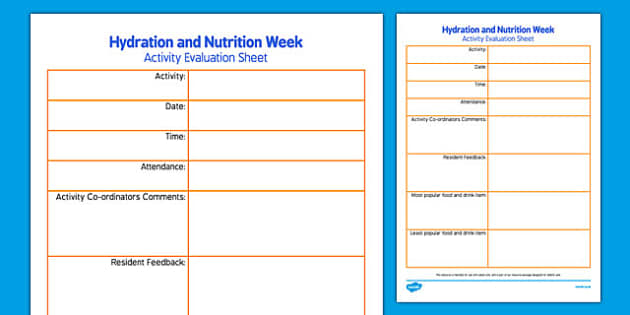 Elderly Care Hydration and Nutrition Week Evaluation Sheet - Elderly, Reminiscence, Care Homes, Hydration and Nutrition Week