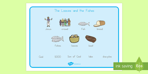 The Loaves And Fishes Word Mat Images - usa, america, the Loaves and the Fishes, loaves, fishes, Jesus, food, word mat, writing aid, mat, the feeding of the five thousand, crowd, feeding, God, teaching, 5000, people, five loaves