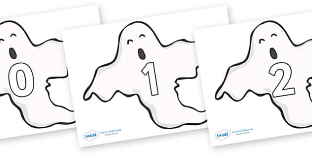 Numbers 0-50 on Ghosts (Plain) - 0-50, foundation stage numeracy, Number recognition, Number flashcards, counting, number frieze, Display numbers, number posters