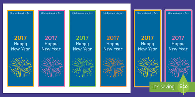 Happy New Year 2017 Editable Bookmarks
